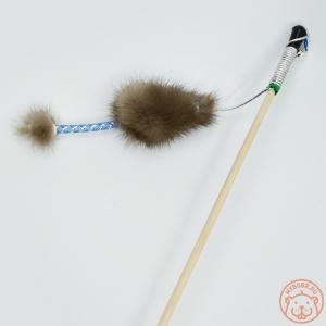 Игрушка для кошки «Мышь норка М» с хвостом трубочка с норкой на веревке