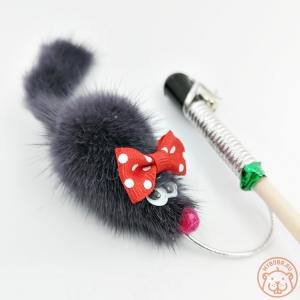 Игрушка для кошки «Мышка с бантиком» на веревке